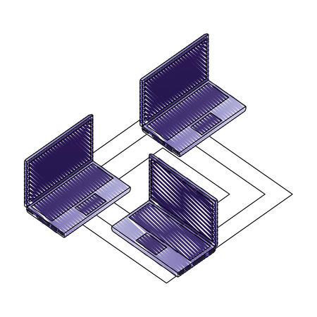 laptops computers isometric with circuit isometric vector illustration design