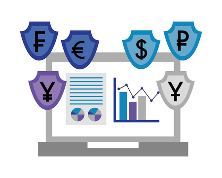 laptop foreign exchange currency statistics chart vector illustration