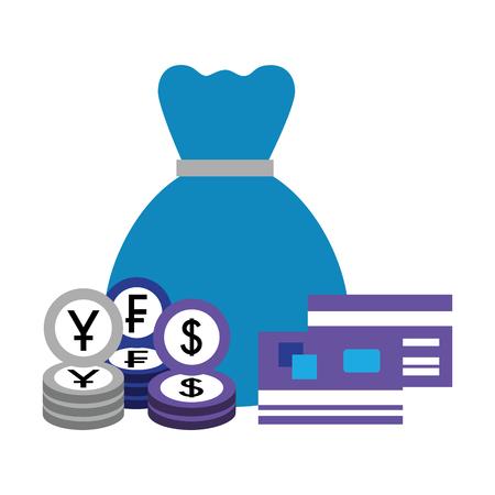 money bag bank credit cards coins yen dollar franc vector illustration