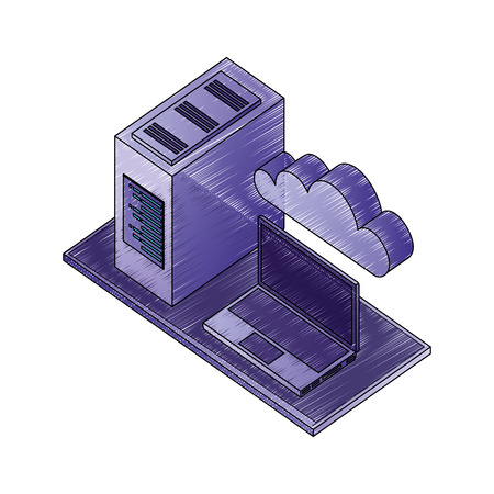 laptop computer with server data and cloud computing isometric vector illustration design Stok Fotoğraf - 107042665