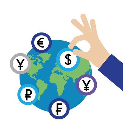 hand with dollar coin euro yen franc and ruble world vector illustration