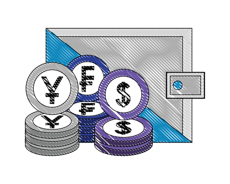 crypto coins pile with wallet vector illustration design