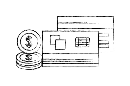 business bank cards dollar coins money vector illustration hand drawing