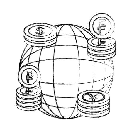 world business stacked coins yen dollar franc ruble vector illustration hand drawing Иллюстрация