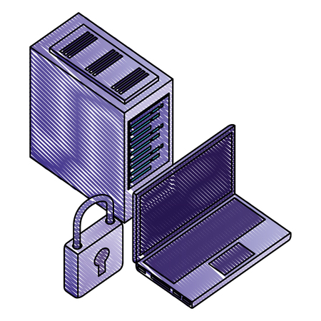 laptop computer with padlock and server data isometric icon vector illustration design