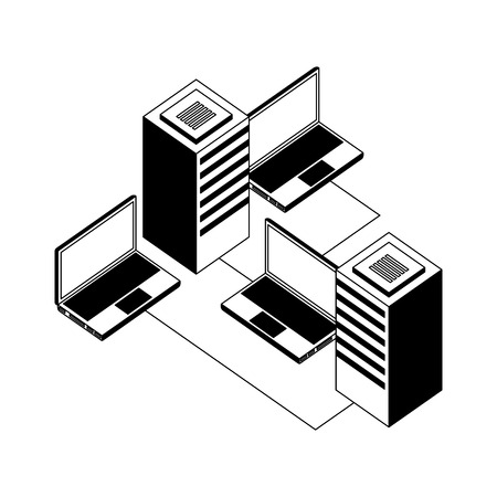 laptops computers and server with circuit isometric vector illustration design