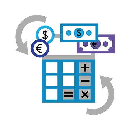 Calculadora de divisas y monedas de cambio de dinero ilustración vectorial Foto de archivo - 107042851