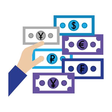 hand with banknote euro dollar yen ruble yuan money vector illustration Stock Vector - 111663254