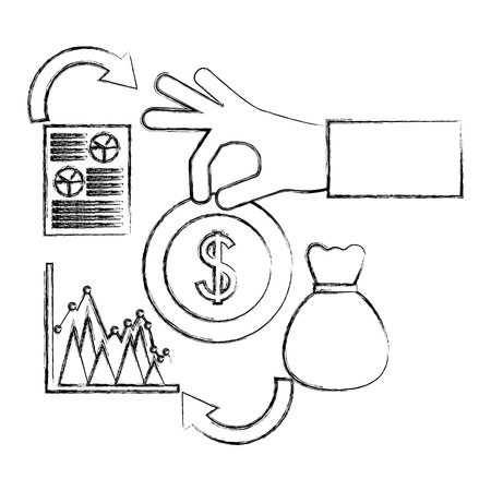 hand with dollar coin bag money statistics foreign exchange vector illustration hand drawing