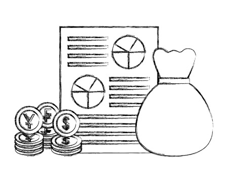 money bag document currency coins dollar yen franc vector illustration hand drawing
