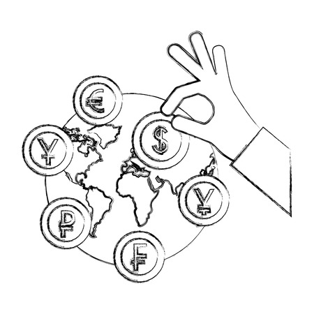 hand with dollar coin euro yen franc and ruble world vector illustration hand drawing Фото со стока