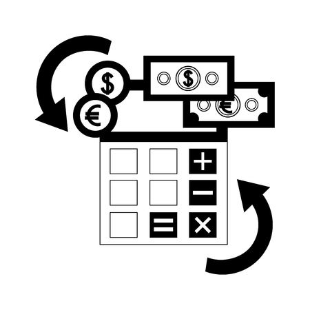 foreign exchange calculator banknotes and coins money vector illustration