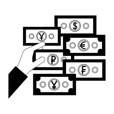 hand with banknote euro dollar yen ruble yuan money vector illustration
