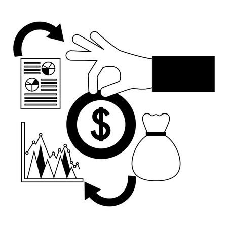 hand with dollar coin bag money statistics foreign exchange vector illustration 向量圖像