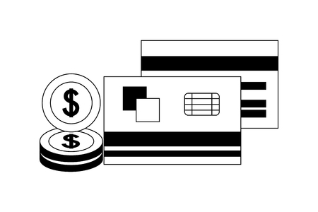 business bank cards dollar coins money vector illustration