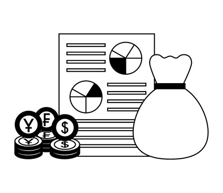 money bag document currency coins dollar yen franc vector illustration