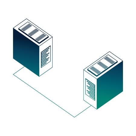 database server center connection network data vector illustration neon