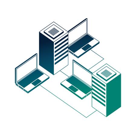 Dataserver center réseau ordinateur portable stockage de données illustration vectorielle