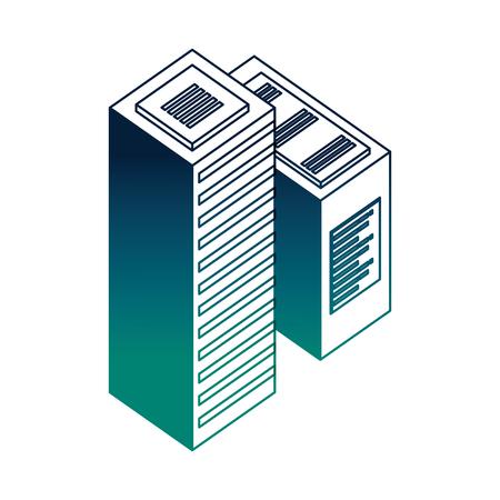 dataserver center tower cpu computer network data vector illustration neon