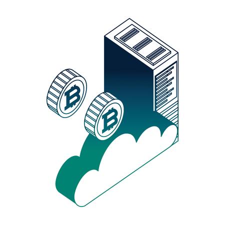 cloud computing datacenter server cloud bitcoin money virtual vector illustration neon Illustration