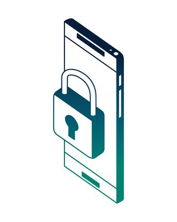 smartphone security padlock network data vector illustration neon Illusztráció