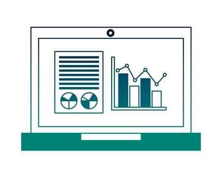 laptop business report statistics diagram document vector illustration neon
