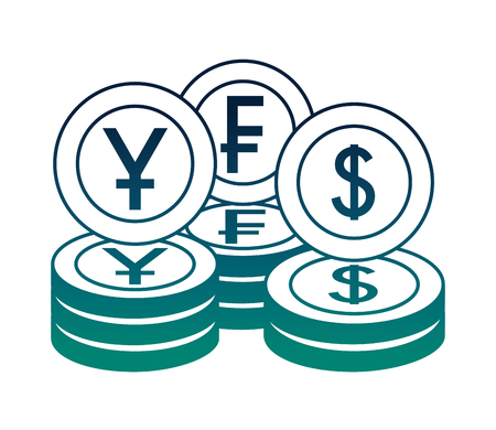money currency coins yen franc and dollar vector illustration neon Illustration