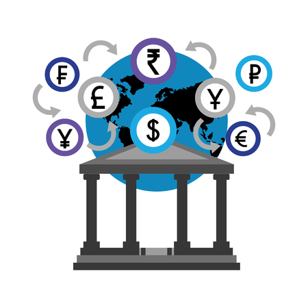 banking world foreign exchange money coins vector illustration  イラスト・ベクター素材