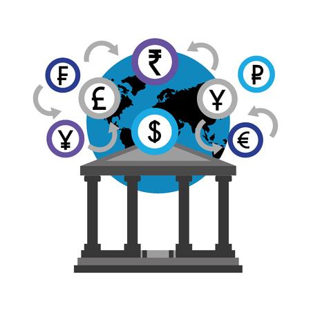 monde bancaire, devises, monnaie, argent, pièces, vecteur, illustration Vecteurs