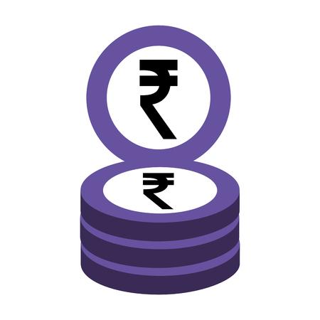 indische Ruppenmünzen stapeln Geschäftsgeldvektorillustration