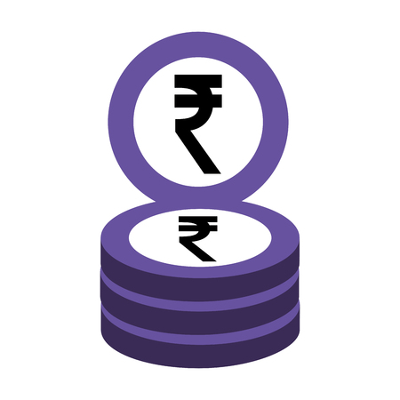 indian ruppe coins stack business money vector illustration