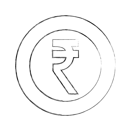 currency coin indian rupee money vector illustration