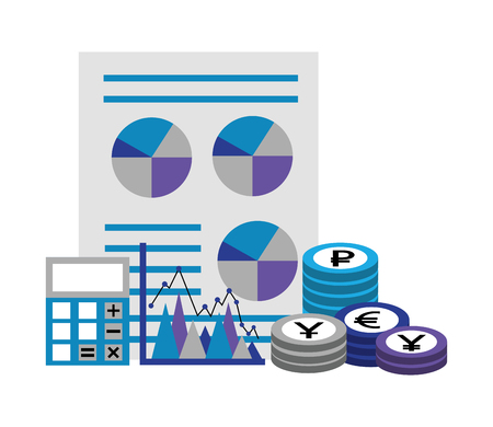 business financial report chart calculator coins vector illustration Stock Vector - 111663313