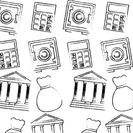 business bank money bag safe box calculator pattern vector illustration Illustration