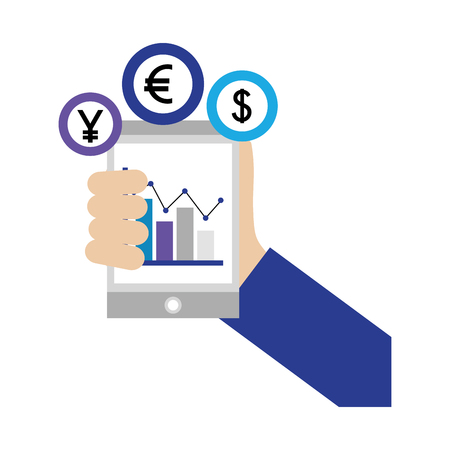 hand with smartphone chart business coins dollar euro yen vector illustration