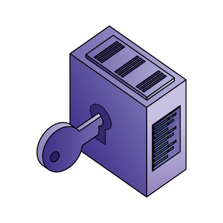 dataserver center technology storage security vector illustration