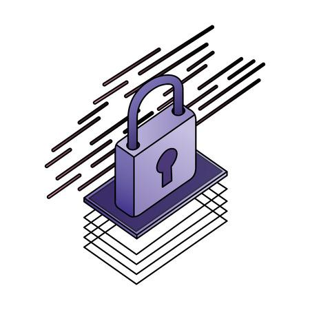 padlock isometric security protection icon vector illustration Foto de archivo - 111663320