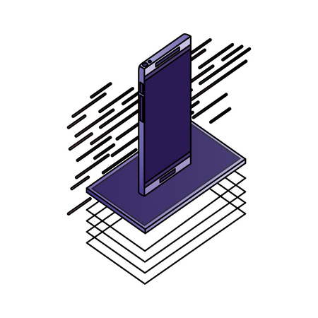 smartphone isometric device digital technology vector illustration