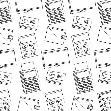 business dataphone credit card wallet calculator pattern vector illustration