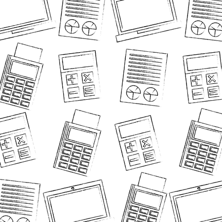business commerce dataphone calculator report pattern vector illustration Stock Illustratie