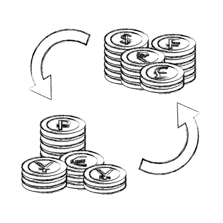 foreign exchange pile coins currency tranfer money vector illustration