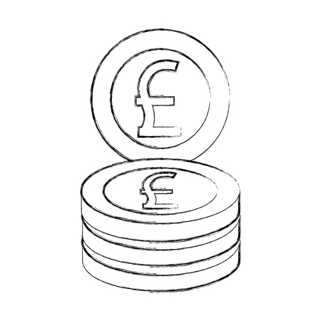 currency coin pound great britain stack vector illustration  イラスト・ベクター素材