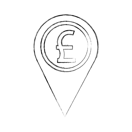 pound great britain coin currency money pointer location vector illustration