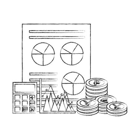 business financial report chart calculator coins vector illustration Illustration