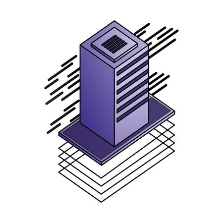 database server isometric storage information technology vector illustration Banco de Imagens - 111663342