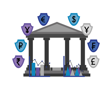 banking business foreign exchange currency vector illustration Vettoriali