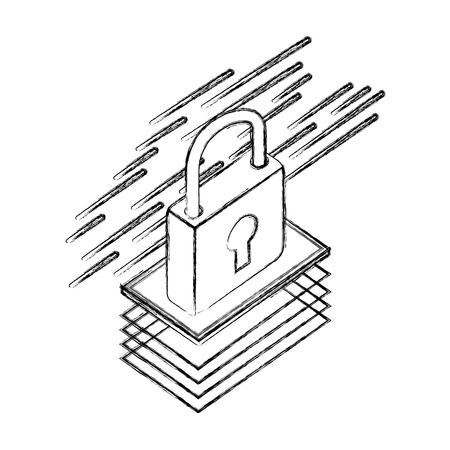 padlock isometric security protection icon vector illustration Foto de archivo - 111663349