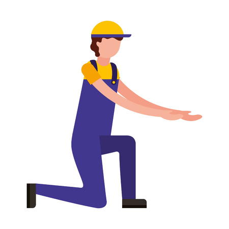 worker employee character with sport cap and overalls vector illustration