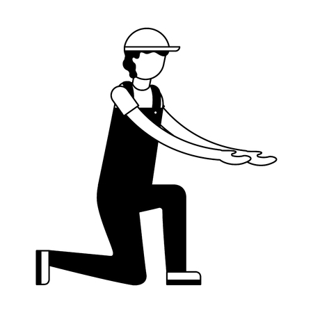 worker employee character with sport cap and overalls vector illustration black and white Illusztráció