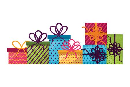set gift boxes present icon vector illustration design  イラスト・ベクター素材